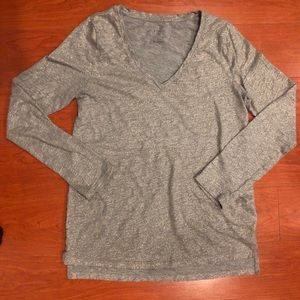 A New Day | Gray long sleeve v-neck t-shirt
